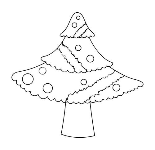 500x486 Retro Christmas Tree Drawing Royalty Free Stock Image