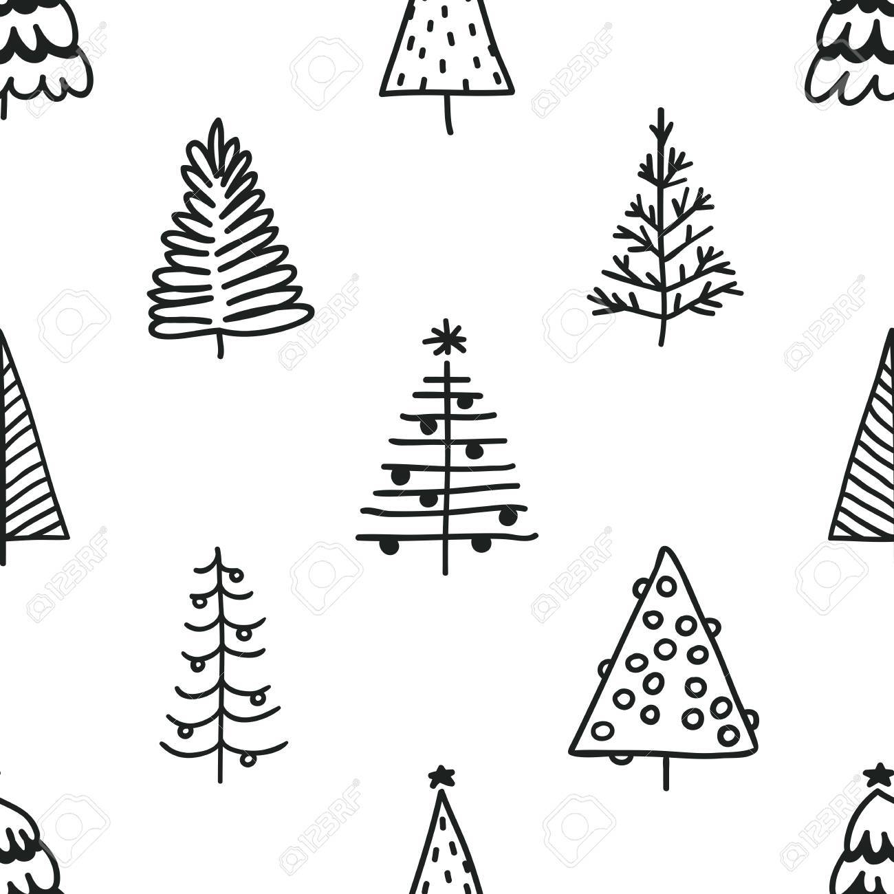 1300x1300 Seamless Pattern With Hand Drawn Christmas Tree. Abstract Doodle