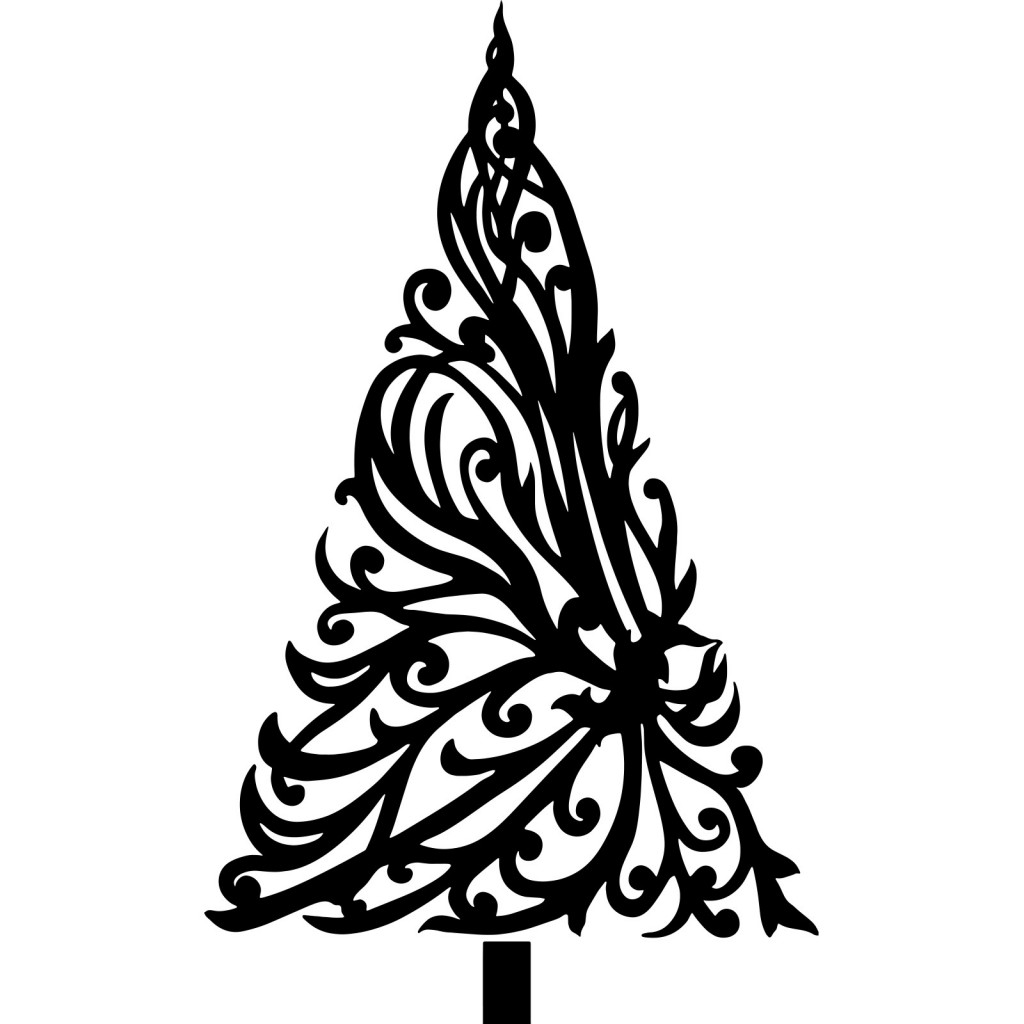 1024x1024 Black Christmas Trees With Floral Drawings For Cards Decoration