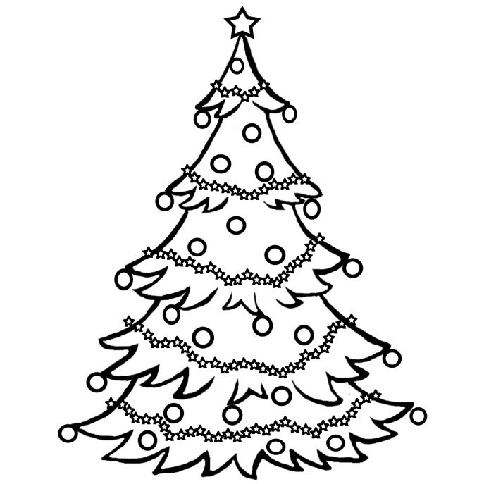 687x687 Christmas Tree Drawing With Santa Tags Christmas Tree Drawing
