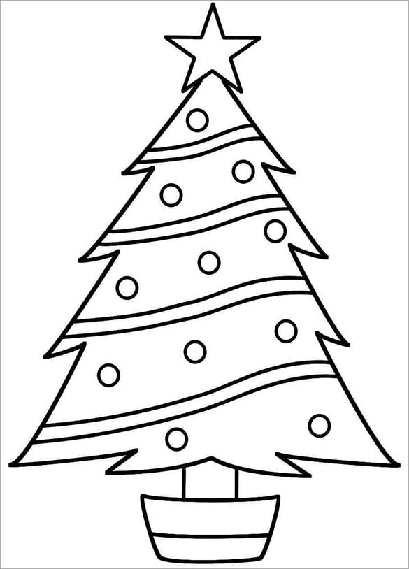 585x814 Christmas Tree Printable For Pretty Coloring Draw