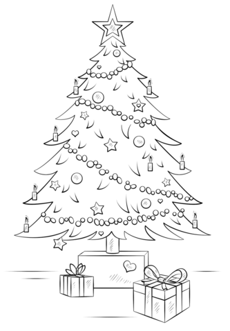 333x480 Christmas Tree With Gift Boxes Coloring Page Free Printable