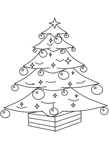 371x480 Christmas Tree With Ornaments Coloring Page Free Printable