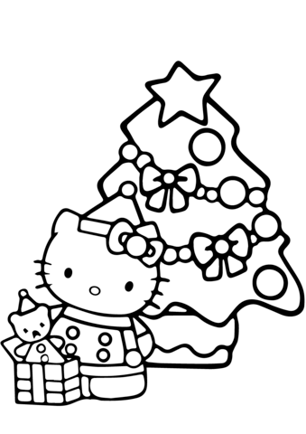 339x480 Hello Kitty Christmas Coloring Page Free Printable Pages