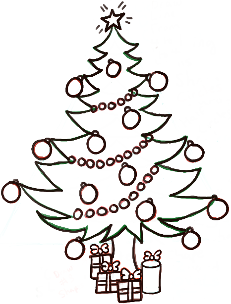 466x614 How To Draw A Christmas Tree With Gifts Amp Presents Under It