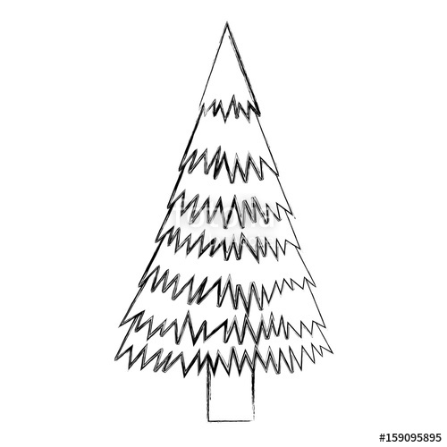 500x500 Sketch Draw Christmas Tree Cartoon Vector Graphic Design Stock