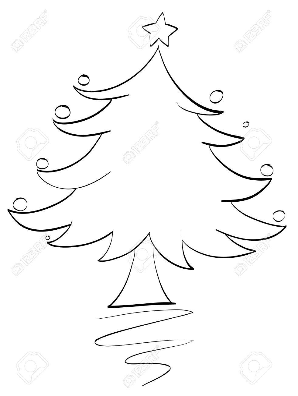 981x1300 Illustration Of An Xmas Tree Outline Royalty Free Cliparts