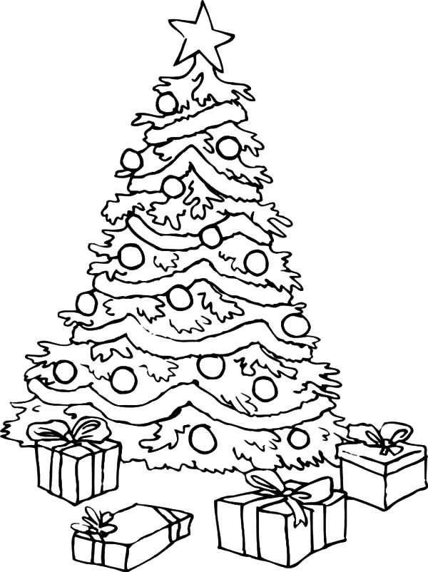 600x802 big christmas trees and christmas presents coloring pages color luna - Coloring Christmas Trees