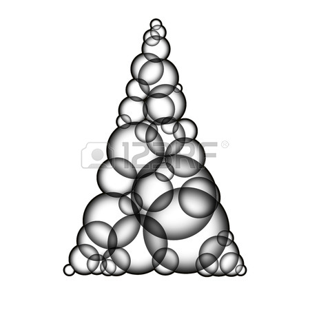 450x450 Simple Warm Yellow Xmas Tree Made Form Bubbles. Christmas Tree