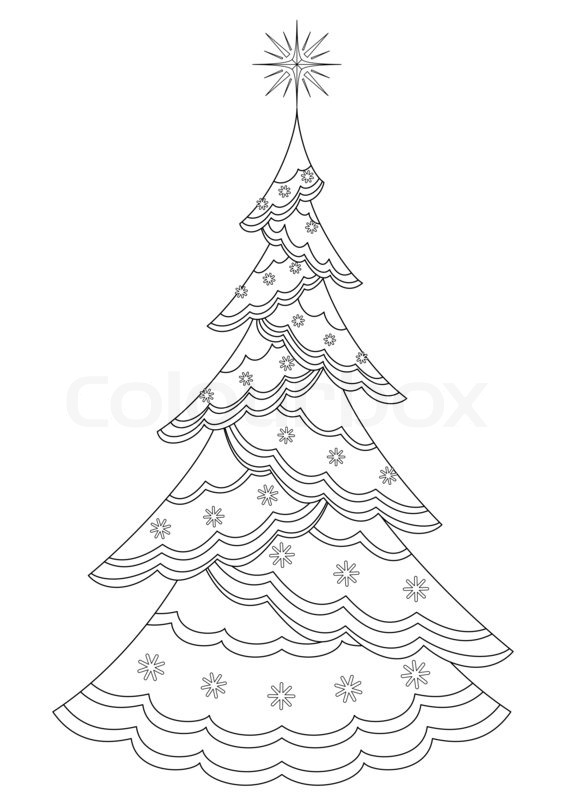 566x800 Christmas Tree With Star And Snowflakes, Holiday Symbol, Isolated