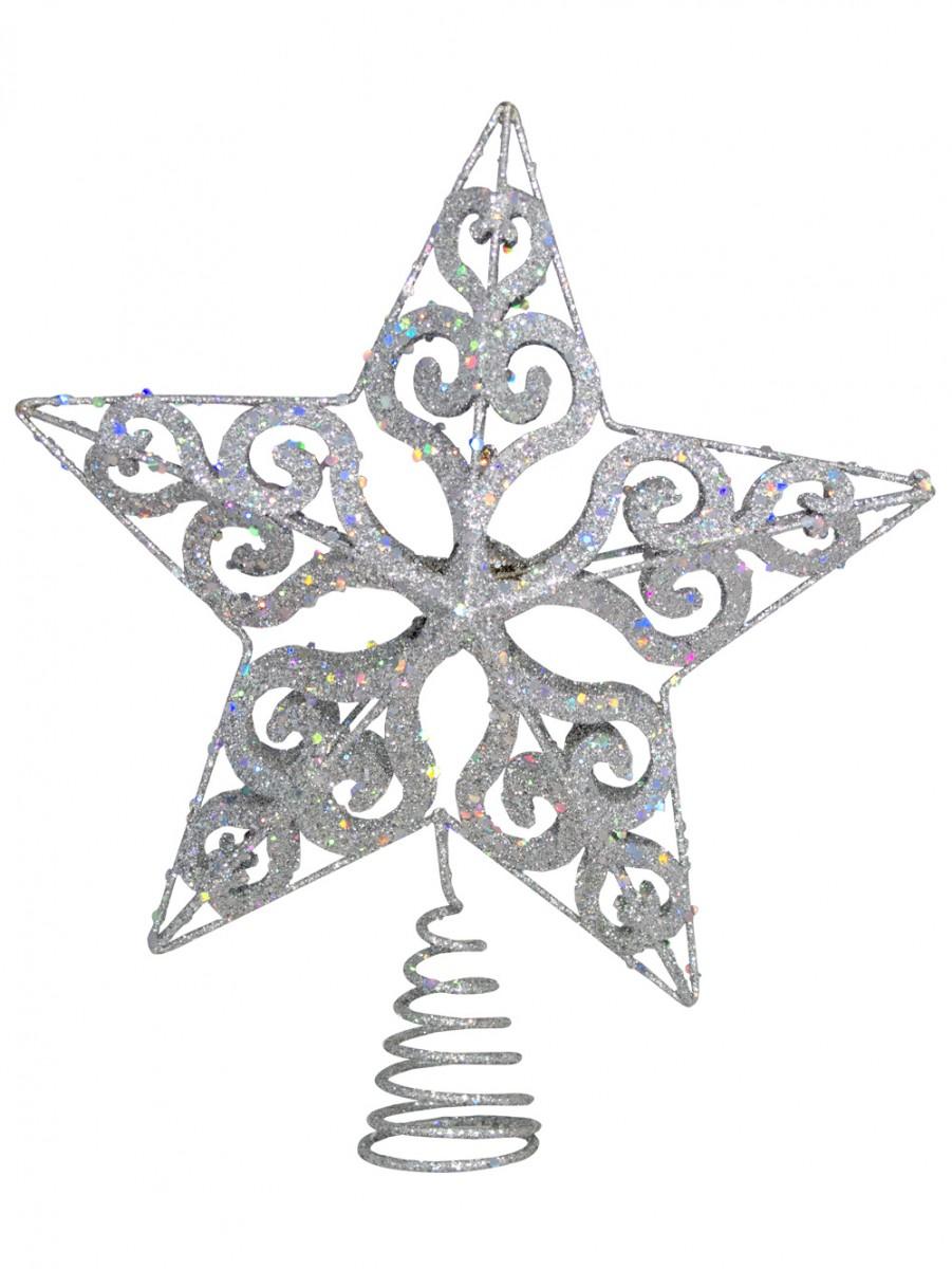 901x1200 Silver Filigree 3d Star Tree Top Decoration
