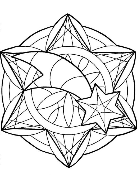 518x679 Star And Round Ornament For Christmas Tree Coloring Pages