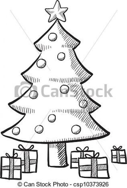 Christmas Tree With Presents Drawing