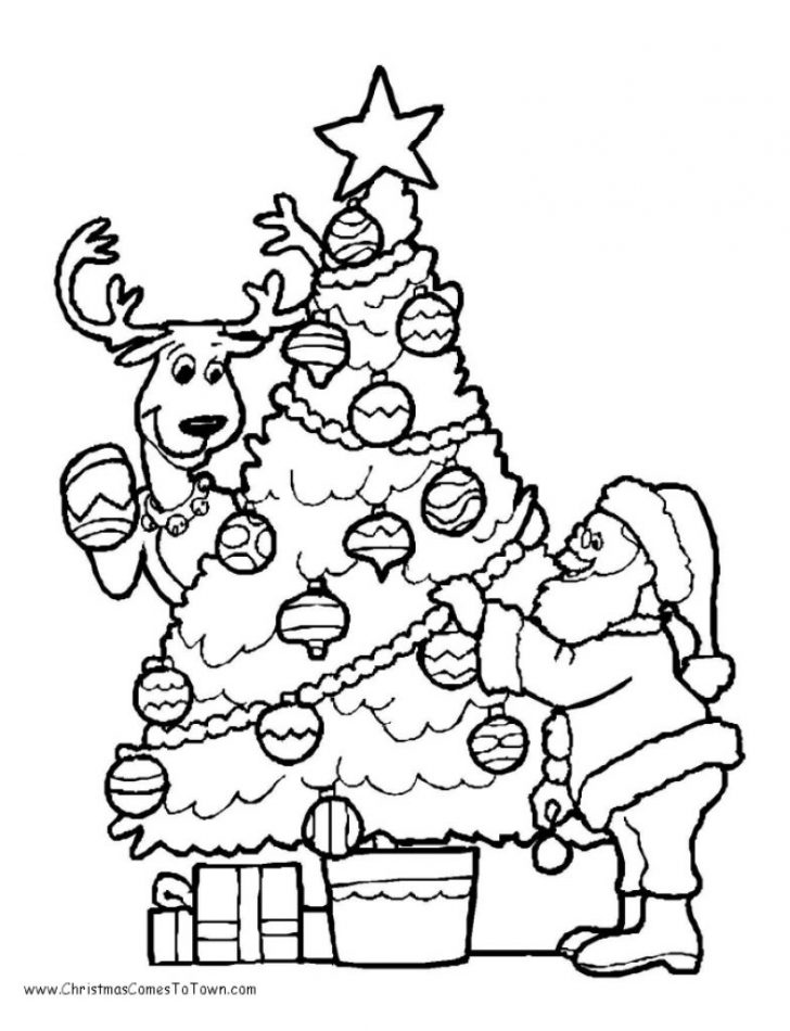 728x950 Christmas Tree Presents Drawing Coloring Pages