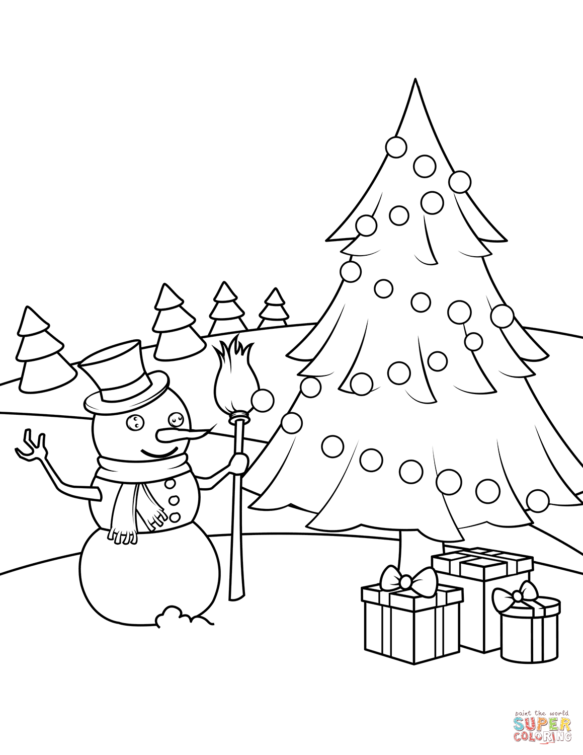 1159x1500 Snowman Christmas Tree And Presents Coloring Page Free