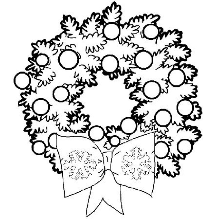 768x768 Christmas Wreath Coloring Pages Printable Tags
