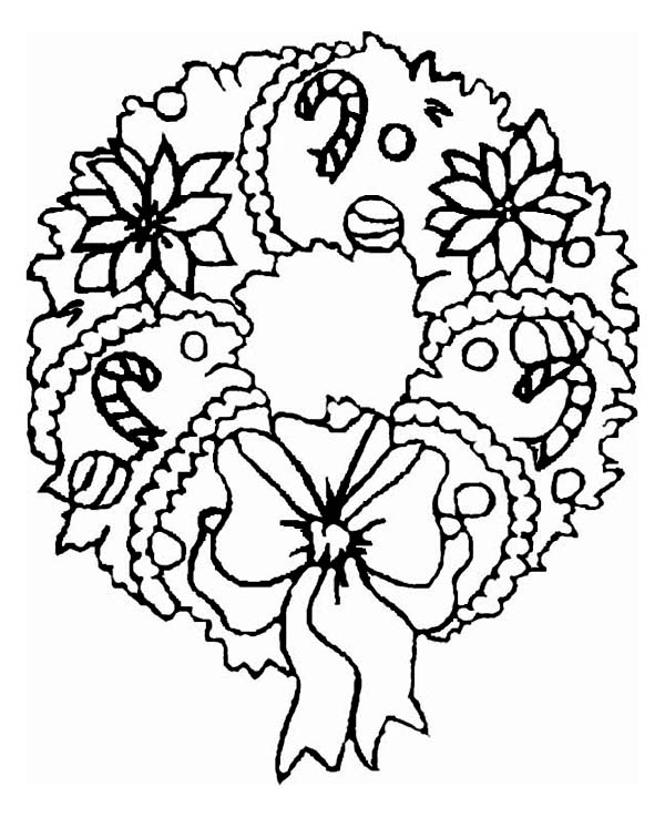 600x738 A Sweet Christmas Wreath Ornament On Coloring Page