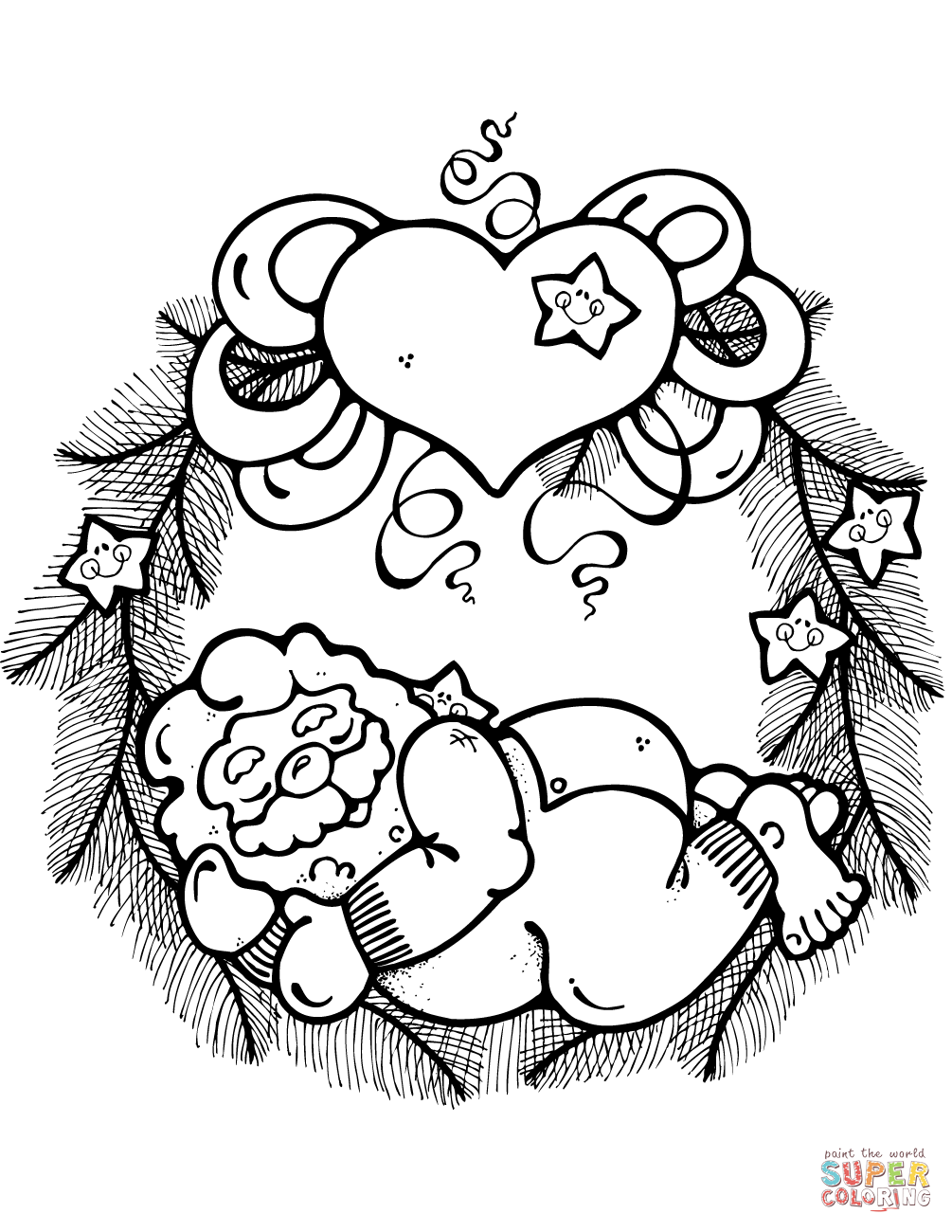 1005x1300 Christmas Wreath Coloring Pages Free