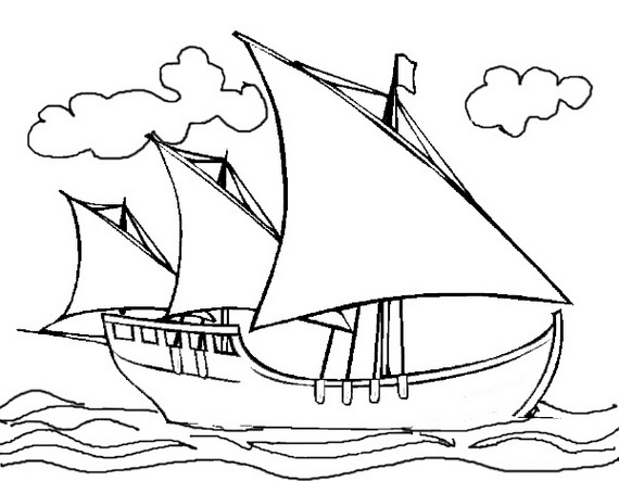 570x443 Columbus Day Ships Coloring Pages