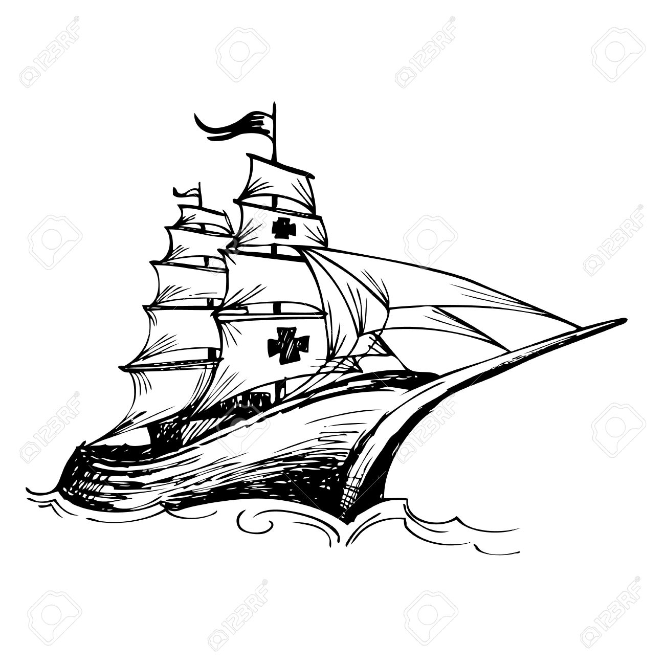 1300x1300 Columbus Ship Hand Drawn By Pencil Made For Columbus Day Royalty