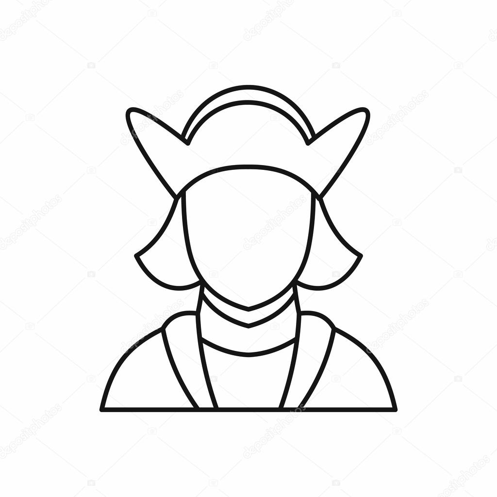 1024x1024 Columbus Discoverer Of America Icon, Outline Style Stock Vector