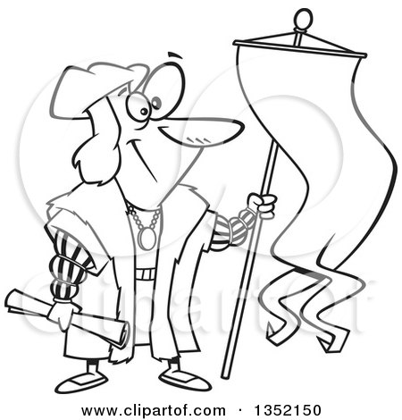 450x470 Outline Clipart Of Cartoon Black And White Christopher Columbus