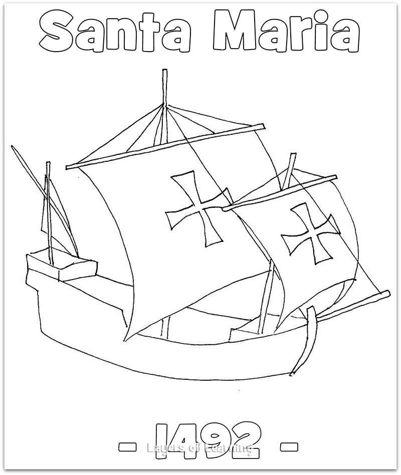800x948 The Santa Maria Coloring Sheet. This Was Christopher Columbus