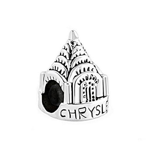 500x500 Chrysler Building New York Silver Charm Bead