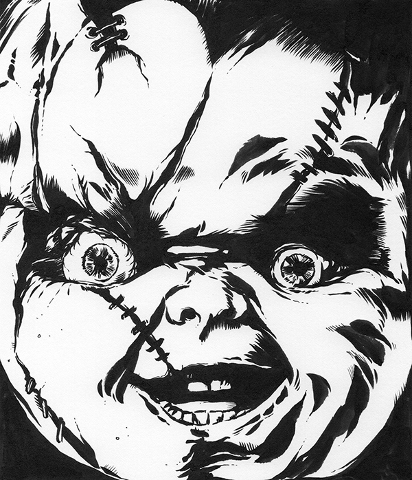 600x698 Horror Ink Portraits On Behance Chucky Horror Movie Icons