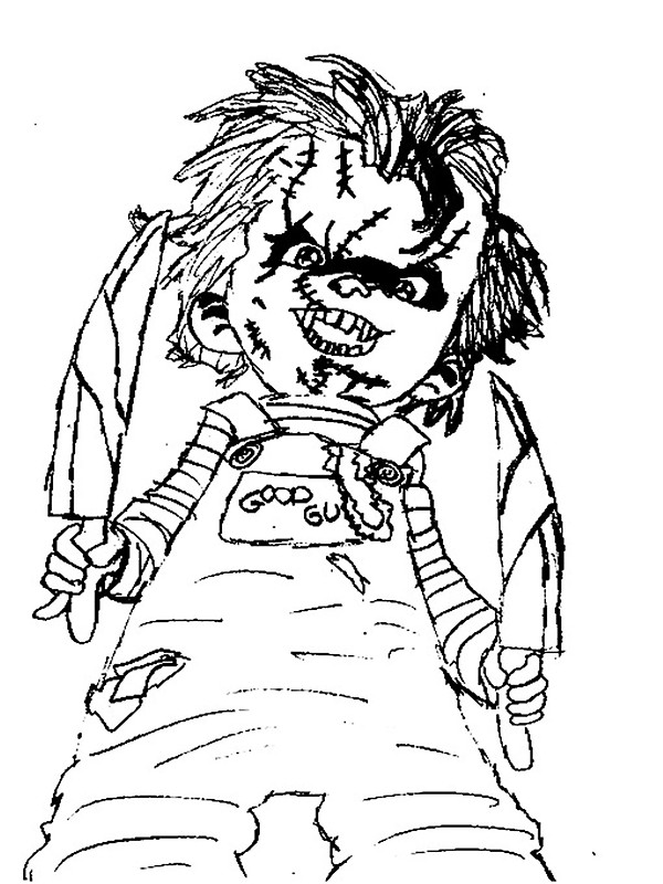 600x800 Black And White Chucky Child's Play Drawing Stickers By Naty118