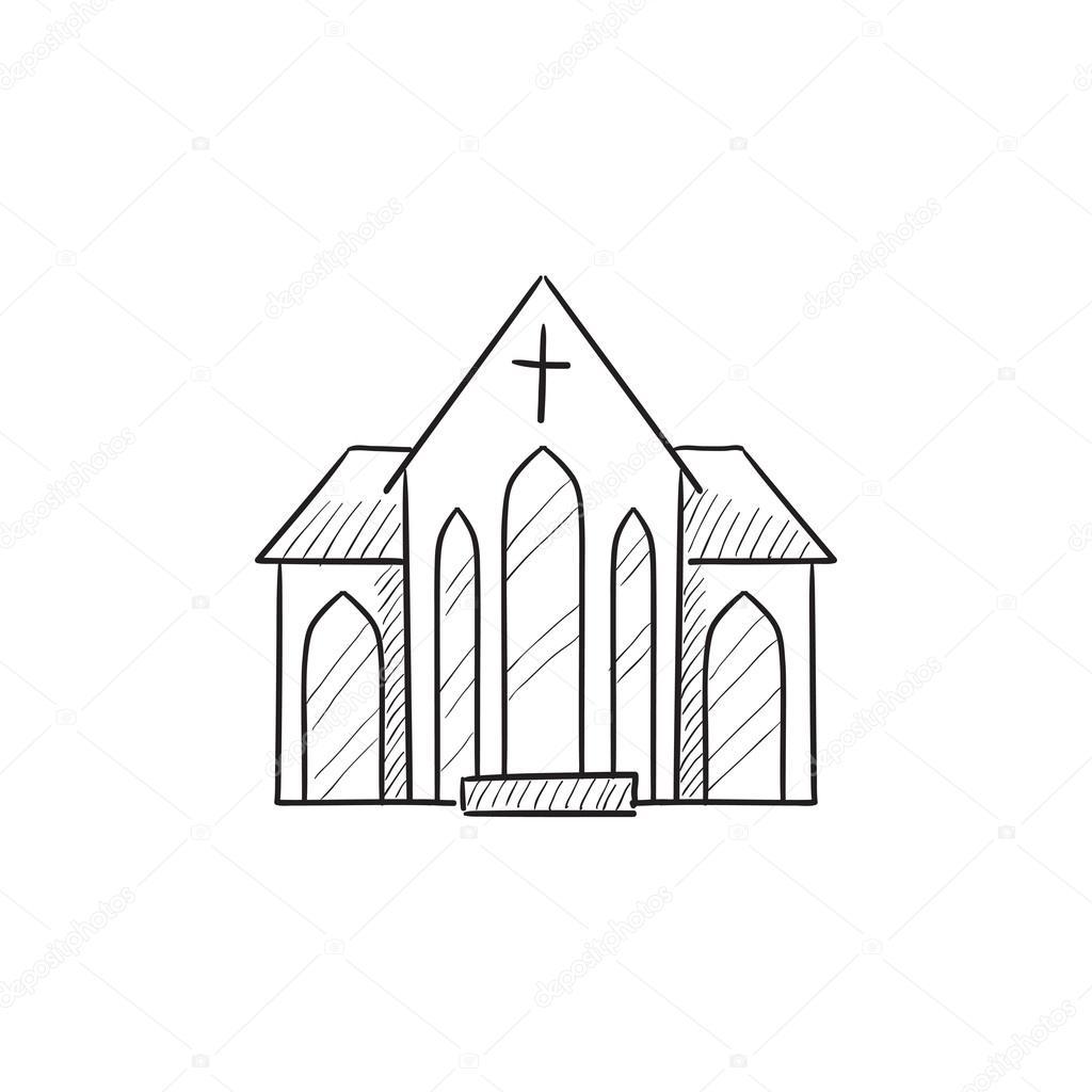 1024x1024 Church Sketch Icon. Stock Vector Rastudio
