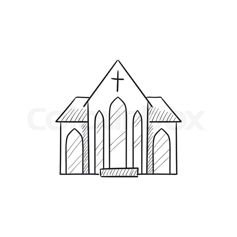 800x800 Church Vector Sketch Icon Isolated On Background. Hand Drawn