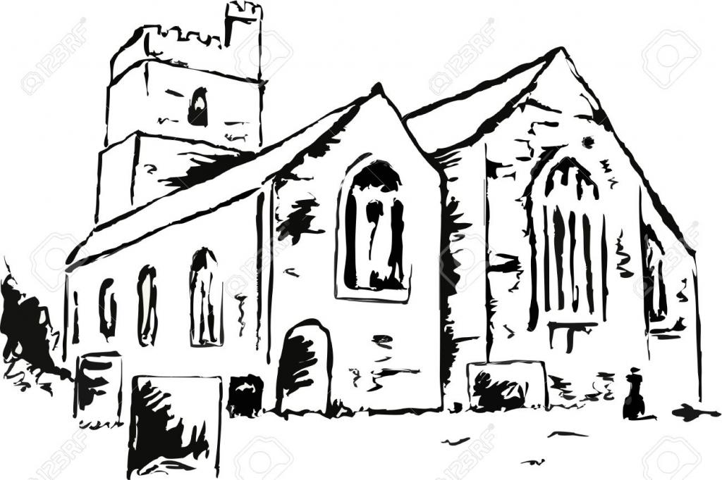 1024x682 Drawing Of Church Building