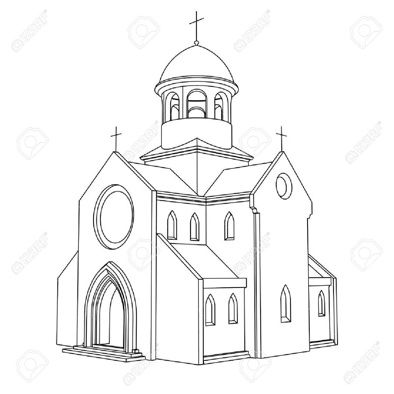 1300x1300 Line Art Ancient Basilica Drawing Vector Illustration Royalty Free