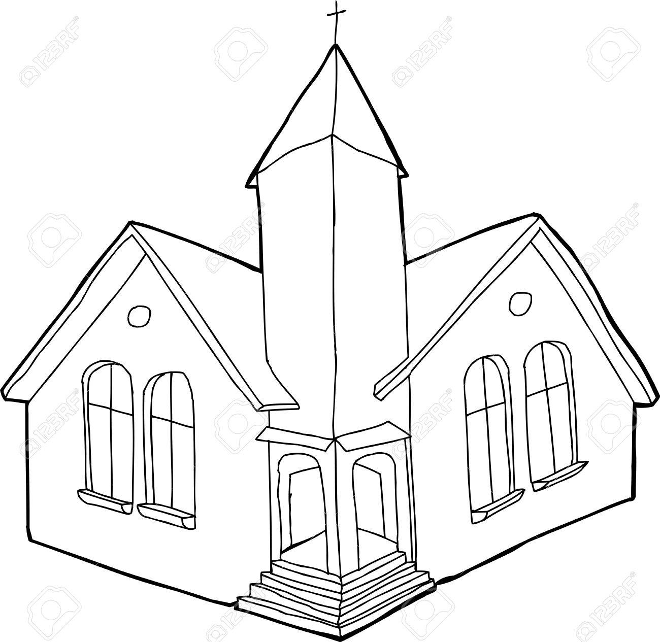 1300x1265 Single Outline Christian Church In White And Black Royalty Free