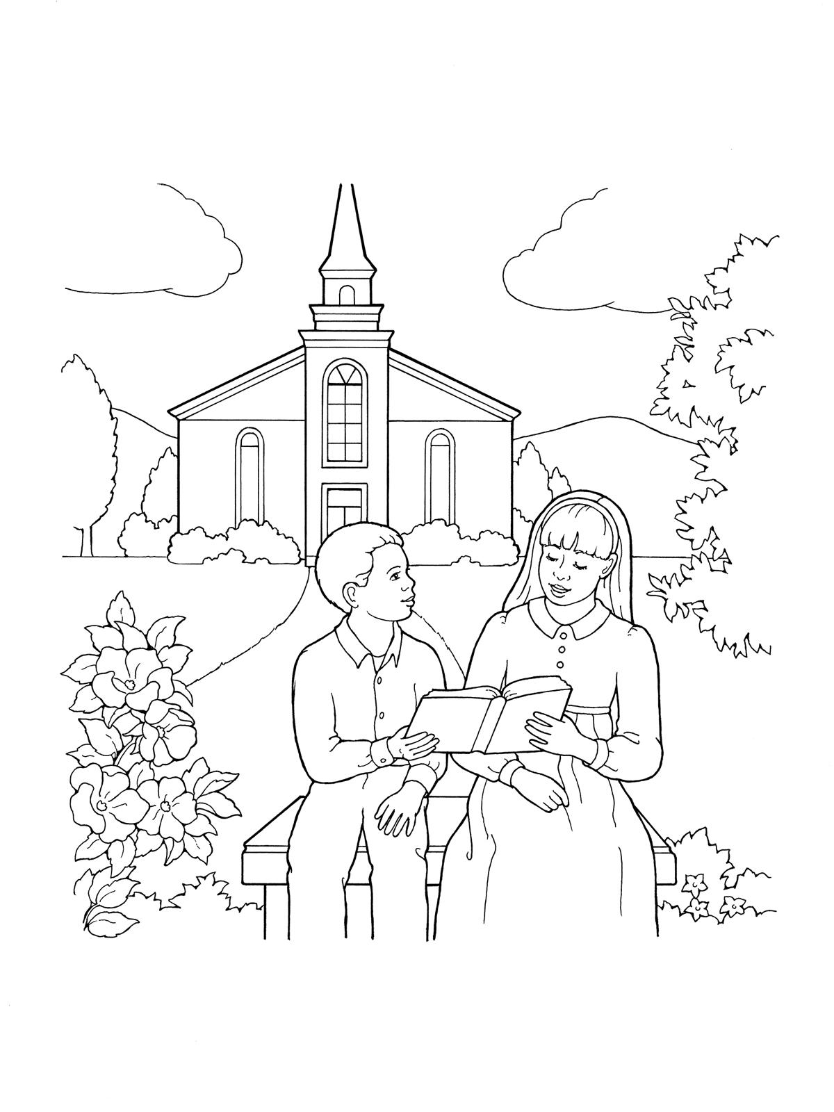 1200x1600 Children Reading By Church