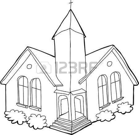 450x438 Isolated Cartoon Church Outline Over White Background Royalty Free