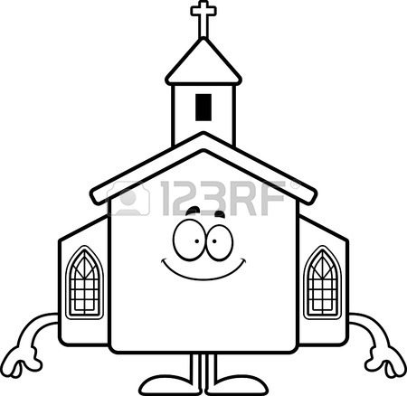 450x438 A Cartoon Illustration Of A Church With An Idea. Royalty Free