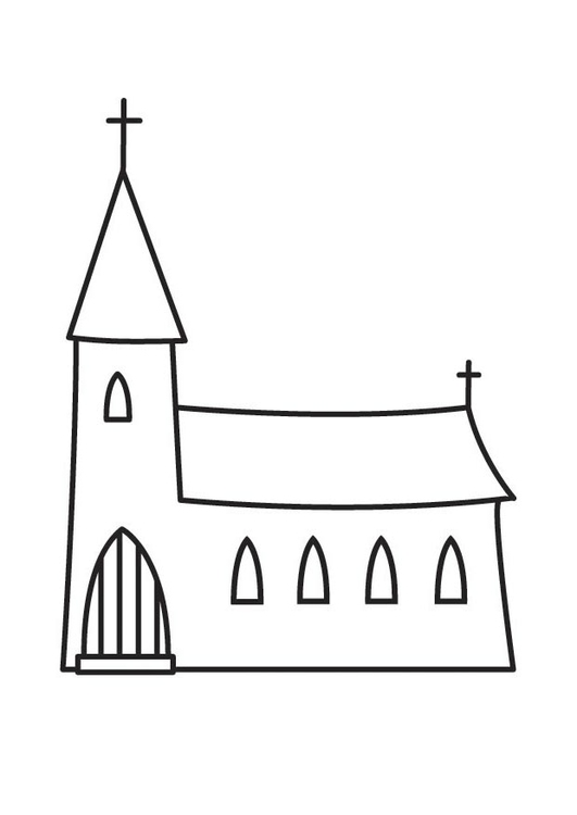 531x750 Coloring Page Church