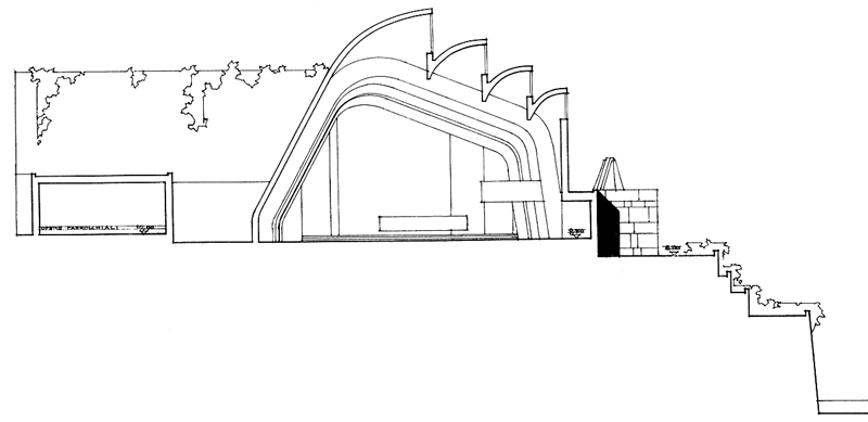 800x389 In This Section Sketch Of Riola Church, By Alvar Aalto Has Very