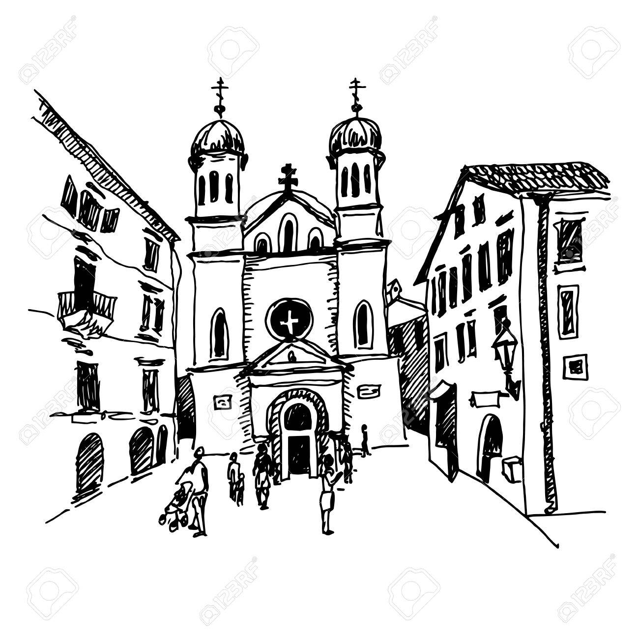 1300x1300 Original Black And White Sketch Drawing Of Church Of Saint Tryphon
