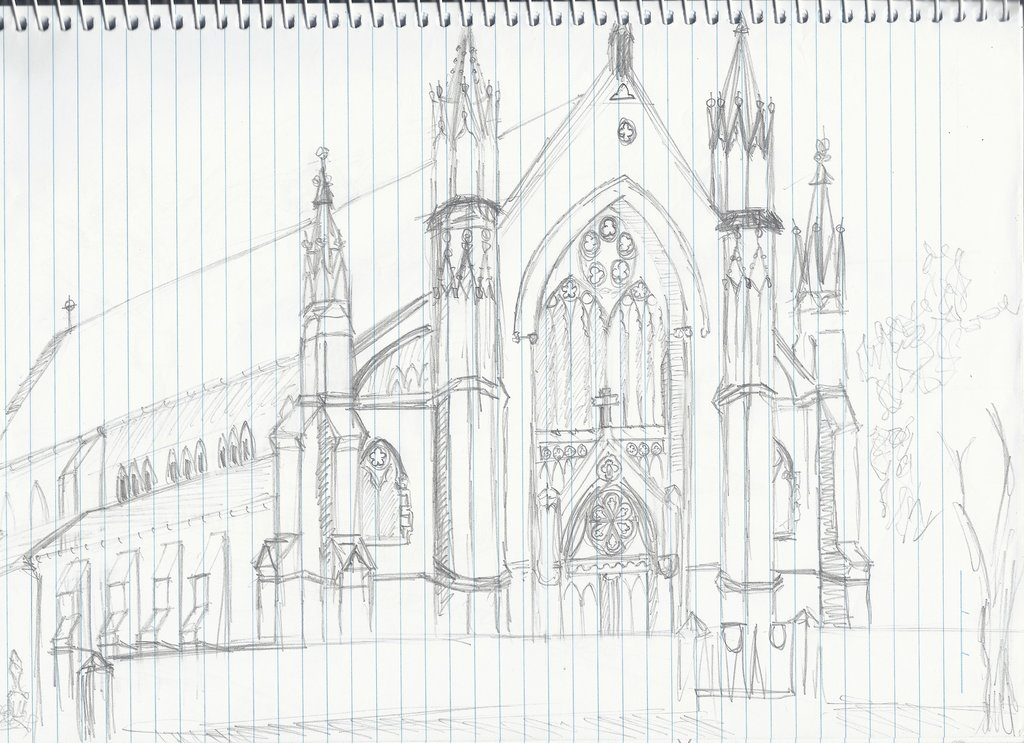 1024x743 St. Patrick's Church Sketch By Elrunethe2nd