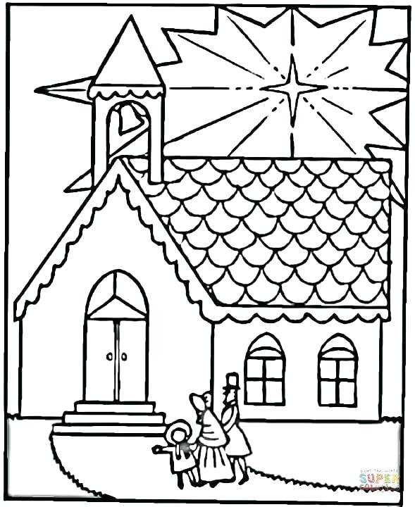 589x720 Church Coloring Pages To Print Click The Family Visits Church