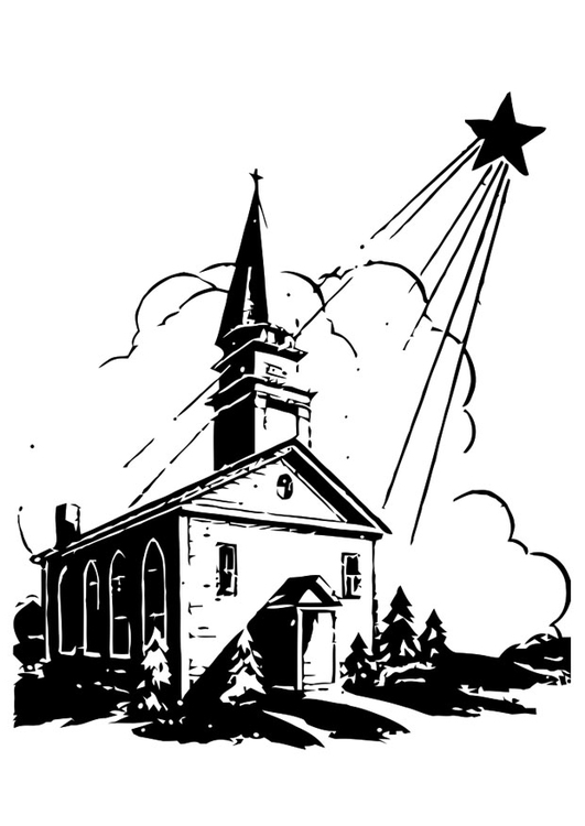 531x750 Coloring Page Church With Christmas Star