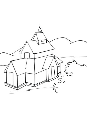 360x480 Stave Church Coloring Page Free Printable Coloring Pages
