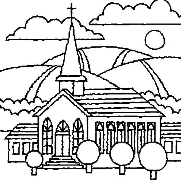 600x597 Top Rated Church Coloring Pages Pictures Drawing Church Coloring