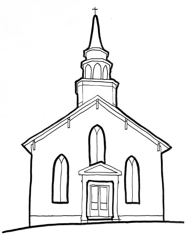 600x765 Christs Church Line Art