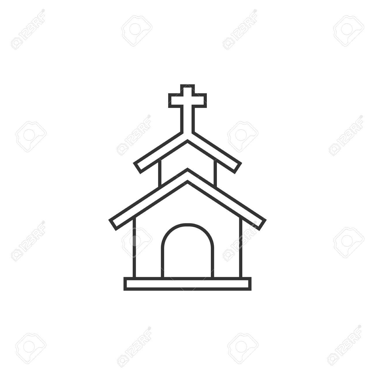 1300x1300 Church Icon In Thin Outline Style. Christian Chapel Synagogue