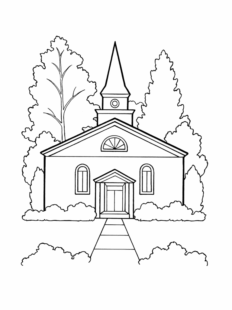768x1024 Drawing Of Church Building How To Draw A Church Step Step