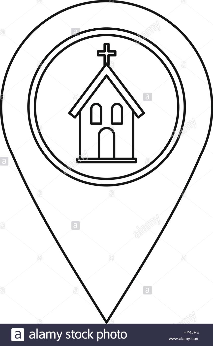 859x1390 Geo Tag With Church Symbol Icon, Outline Style Stock Vector Art